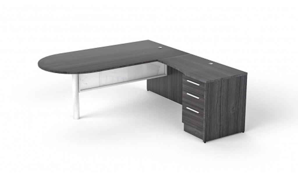 L-shaped bullet desk