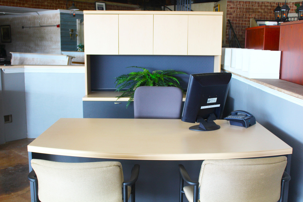 Bow front desk with hutch