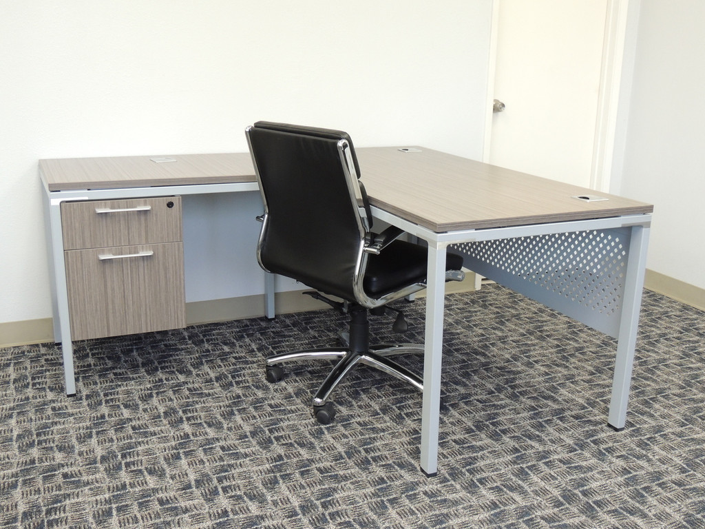 Small l shape desk with hanging file