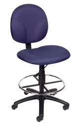 BOSS Office Chair BLUE FABRIC DAFTING STOOLS W/FOOTRING