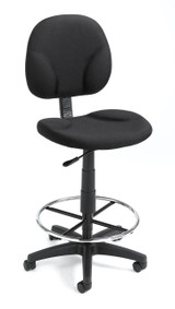 BOSS Office Chair BLACK FABRIC DRAFTING STOOLS W/FOOTRING