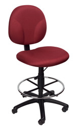 BOSS Office Chair BURGUNDY FABRIC DRAFTING STOOLS W/FOOTRING