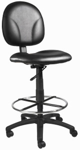 BOSS Office Chair BLACK CARESSOFT DARFTING STOOLS W/FOOTRING