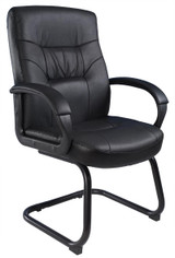 NEW Chairs B7519 BLACK LEATHER PLUS GUEST CHAIR WITH SLED BASE