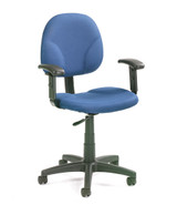 BOSS Office Chair BLUE FABRIC DRAFTING STOOLS W/ADJ ARMS & FOOTRING