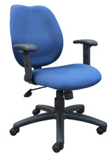 BOSS Office Products BLUE TASK CHAIR/W ADJ ARMS, BL-0020