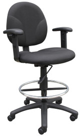 BOSS Office Chair BLACK FABRIC DRAFTING STOOLS W/ADJ ARMS & FOOTRING