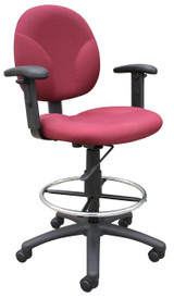 BOSS Office Chair BURGUNDY FABRIC DRAFTING STOOLS W/ADJ ARMS & FOOTRING