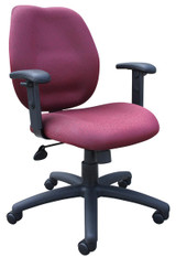 BOSS Office Products BURGUNDY TASK CHAIR/W ADJ ARMS, BL-002