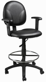 BOSS Office Chair BLACK CARESSOFT DRAFTING STOOLS W/ADJ ARMS & FOOTRING