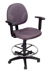 BOSS Office Chair GRAY FABRIC DARFTING STOOLS W/ADJ ARMS & FOOTRING