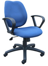 BOSS Office Products BLUE TASK CHAIR/W LOOP ARMS,BL-0020