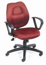 BOSS Office Products BURGUNDY TASK CHAIR/W LOOP ARMS,BL-0022
