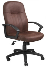 BOSS Office Furniture BOMBER BROWN MICROFIBER MID BACK CHAIR