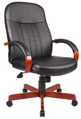 BOSS Office Furniture HI-BACK EXEC CHAIR W/CHERRY FINISH