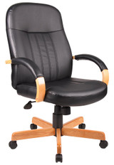 BOSS Office Furniture HI-BACK EXEC CHAIR WITH OAK FINISH