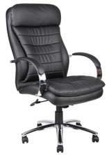 BOSS Furniture HI-BACK CARESSOFT PLUS EXEC CHAIR W/KNEE TILT, CHROME BASE
