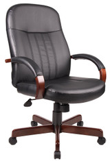 BOSS Office Furniture HI-BACK EXEC CHAIR WITH MAHOGANY