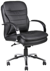 BOSS Furniture MID-BACK CARESSOFT PLUS EXEC CHAIR W/KNEE TILT, CHROME BAS