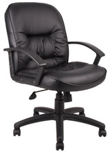 BOSS Chair MID BACK LEATHER PLUS (LF-0005) EXEC CHAIR
