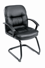 BOSS Chair MID BACK EXEC. LEATHER PLUS(LF-0005) W/SLED BASE