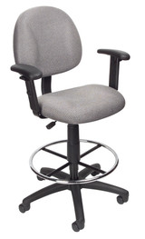 BOSS Office Chair B315-GY TASK CHAIR W/B909JARM AND FOOTRING