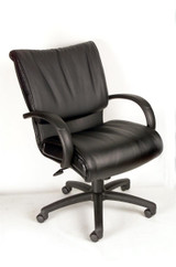 BOSS MID BACK BLACK LEATHER PLUS(LF-0005) CHAIR
