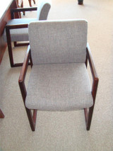Used Wood And Fabric Guest Chair
