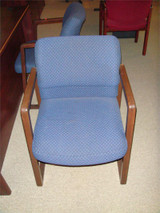 Used Blue Fabric And Mahogany Wood Arms Guest Chair