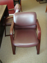 Used Burgandy Leather Guest Chair