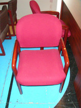 Used Burgandy Cloth And Mahogany Frame Guest Seating