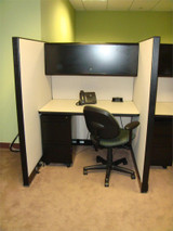 Used KI Telemarketing Cubicles WITH SURFACE MOUNTED POWER BLOCK LOCKABLE OVERHEAD STORAGE AND LOCKABLE PEDASTAL