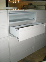 """USED HON 42"""" LATERAL FILES 5 DRAWER/ ONE TUB PULL OUT 4 DRAWERS LIGHT GREY LOCKING"""