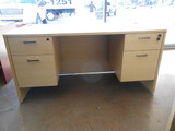 New Cherryman Maple Double Pedestal Desk with Hanging File