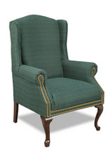 High Back Traditional Green Cloth Upholstered