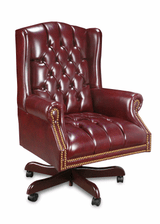 High Back Traditional Button Back OxBlood Leather To The Touch With Casters