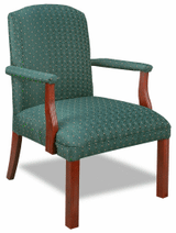 Traditional High Back Green Cloth Upholstered