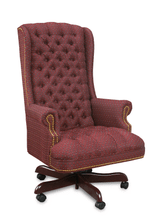 Traditional High Back Red Cloth Upholstered Button Back