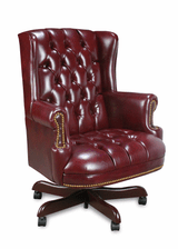 Traditional High Wing Button Back Chair With OxBlood Vinyl