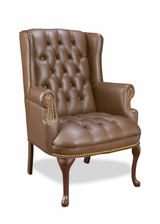 Traditional Executive Brown High Wing Button Back Chair