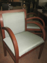 """Wood """"Steelcase"""" Chairs W/Fabric"""