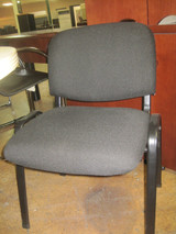 Used Armless Black Fabric Side Chair