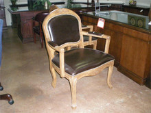 ARM REST CHAIR WOOD ARM LEATHER SEAT AND BACK VICTORIAN STYLE