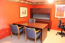 Mahogany desk with hutch and storage