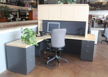 Lacasse L shape desk with hutch