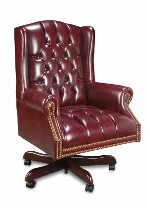 Exceptionnel High Back Traditional Button Back OxBlood Leather To The Touch With Casters