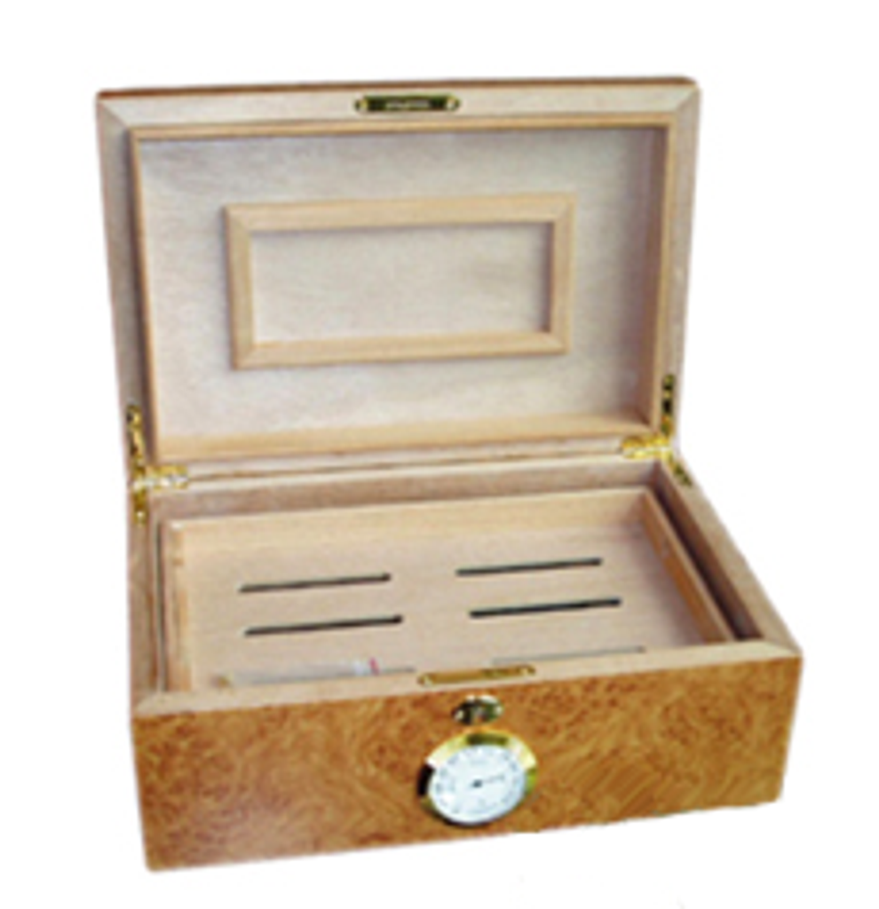 Humidor natural polished wood - interior