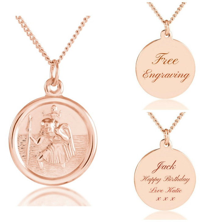Rose Gold St Christopher Necklace, Personalised