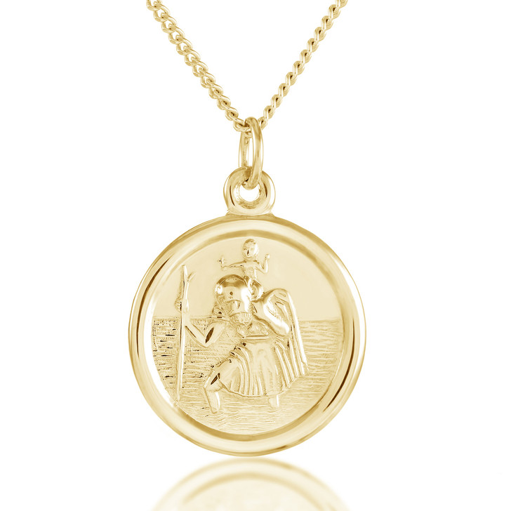Gold St Christopher Necklace, Personalised
