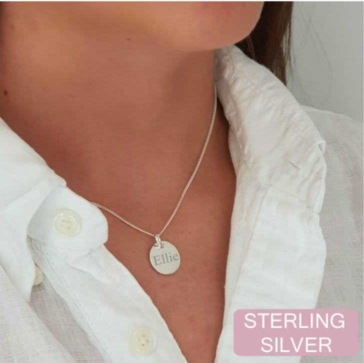 Sterling silver name disc necklace